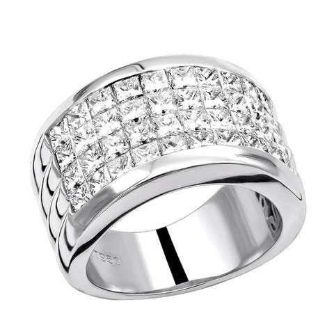 Platinum 5 Carat G VS Invisible Set Princess Cut Diamond Wedding Band 5ctw by Luxurman