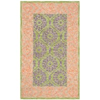 Safavieh Hand-Hooked Suzani Bohemian & Eclectic Green / Violet Wool Rug - 3' x 5'