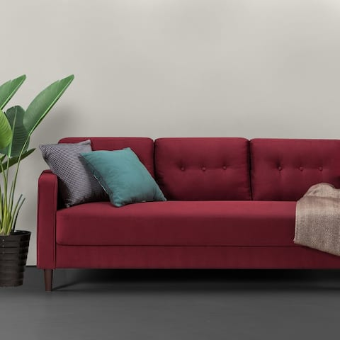 Priage by Zinus Mid-Century Sofa, Ruby Red Weave