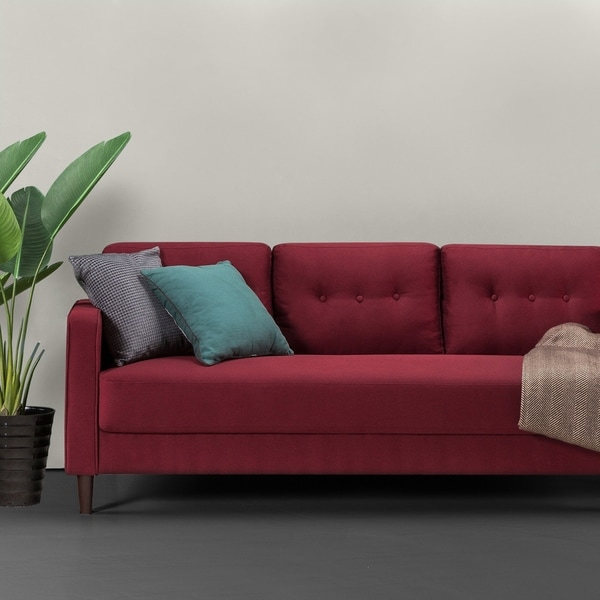 Priage Mid Century Sofa Ruby Red Weave