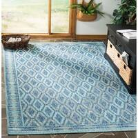 Safavieh Courtyard Modern & Contemporary Navy / Aqua Indoor Outdoor Rug - 4' x 5'7'