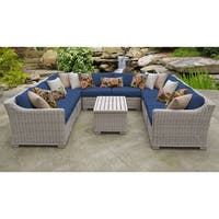 TK Classics Coast 11-piece Vanilla Creme Outdoor Wicker and Navy Cushions Patio Furniture Set