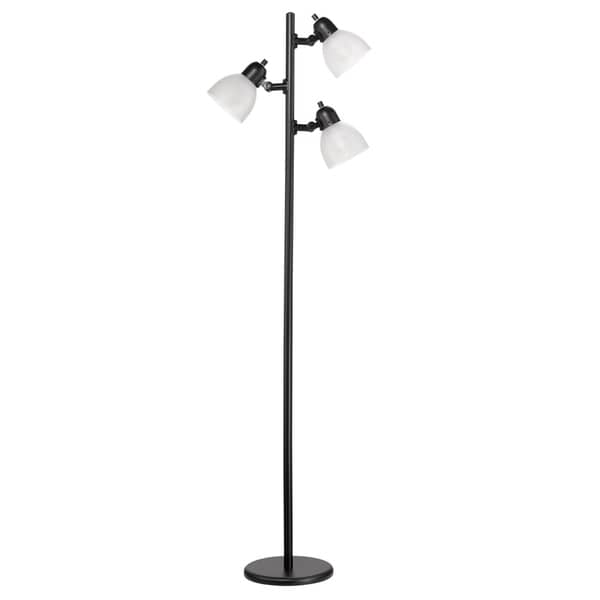 "63"" 3-Light LED Floor Lamp, Matte Black Finish, Frosted Plastic Shades, Black Cord with Polarized Plug, LED Bulbs Included"