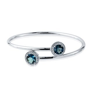 Auriya Gold over Silver 4ct. Round London Blue Topaz and Halo Diamond Stackable Bypass Bangle Bracelet