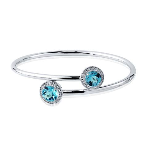 Auriya 4ct Swiss Blue Topaz and Halo Diamond Bangle Bracelet Gold over Silver