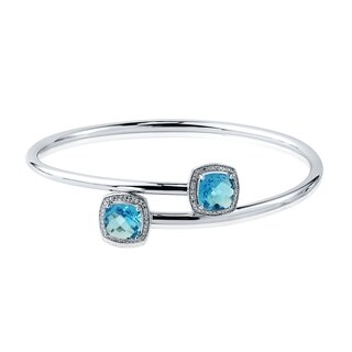 Stackable 4ct Cushion-Cut Swiss-Blue Topaz Bypass Bangle Bracelet with Diamond Accents by Auriya in Gold over Silver