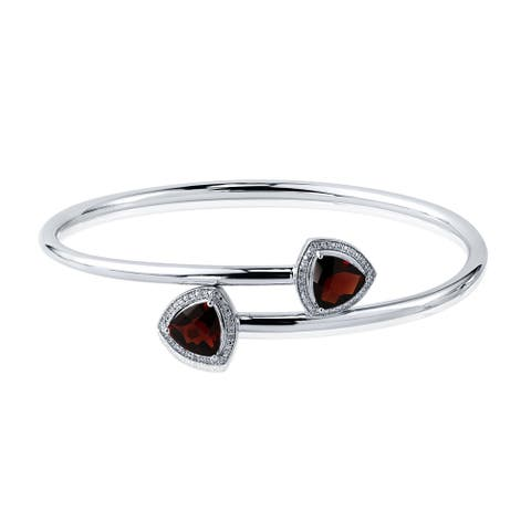 Auriya 3 3/4ct Trillion-Cut Red Garnet Gold over Silver Bangle Bracelet with Diamond Accents