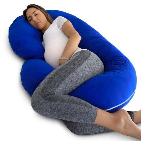 PharMeDoc Full Body Pregnancy Pillow with Blue Jersey Cover
