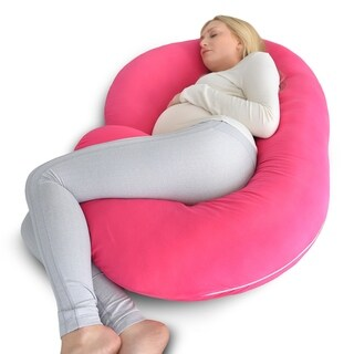 PharMeDoc Full Body Pregnancy Pillow with Pink Jersey Cover