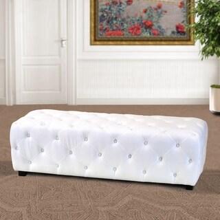 Mikome White Textile 51-Inch Tufted Bench Ottoman