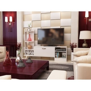 """Decorotika Rosemary 62"""" Tv Media Stand with Bookshelves and Cabinet"""