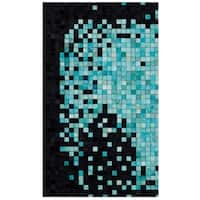 Safavieh Hand-Woven Studio Leather Modern & Contemporary Black / Turquoise Leather Rug - 3' x 5'