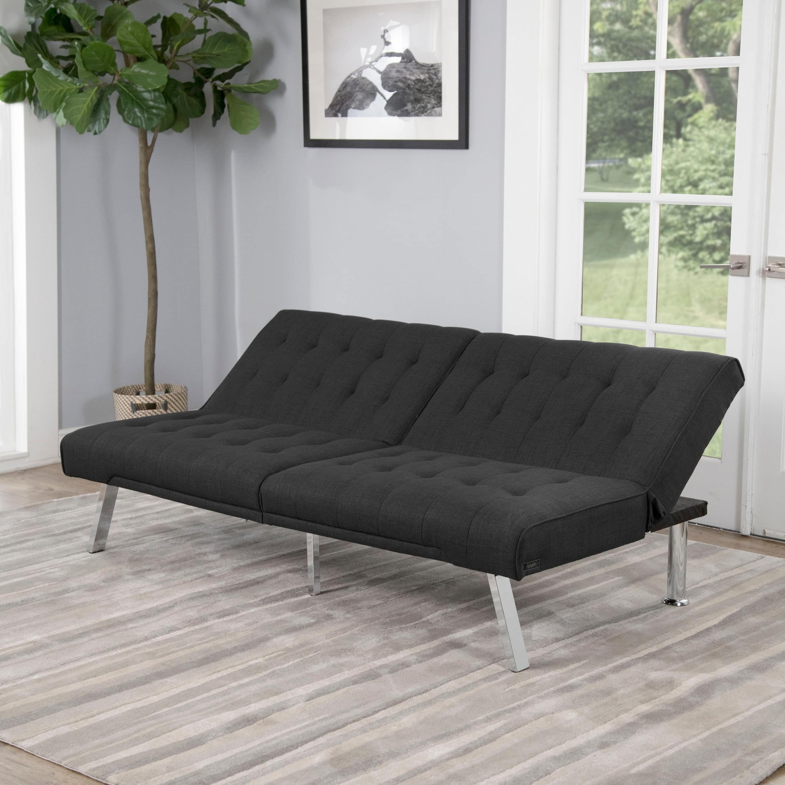 Sensational Abbyson Clayton Grey Fabric Futon Sofa Bed Home Remodeling Inspirations Gresiscottssportslandcom