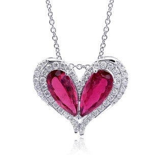 14K White Gold 8.32ct TGW Rubellite and Diamond Heart-shaped Pendant Necklace