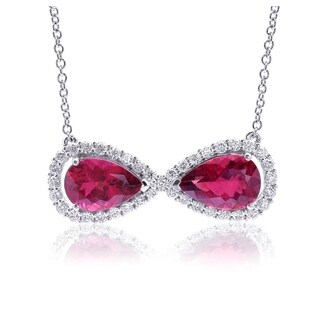 14K White Gold 7.82ct TGW Rubellite and Diamond Bowtie Necklace