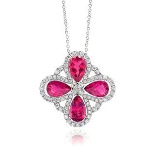 14K White Gold 13.32ct TGW Rubellite and White Diamond Floral Pendant Necklace