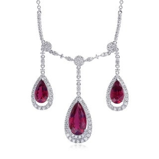 14K White Gold 12.33ct TGW Rubellite and Diamond Fringe Necklace