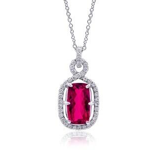 Platinum and White Gold 3.74ct TGW Rubellite and Diamond Pendan Necklace