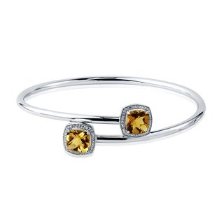 Auriya Gold over Silver 3 3/4ct. Cushion-Cut Citrine and Halo Diamond Stackable Bypass Bangle Bracelet