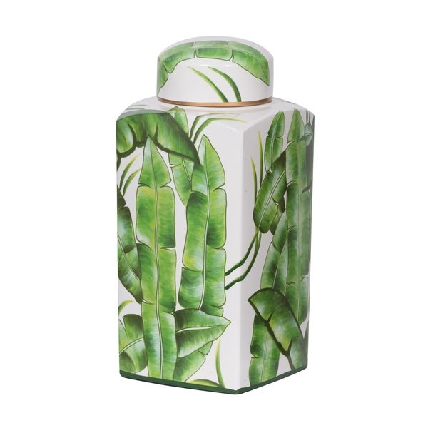 Lovise Palm Square Covered Jar, 6.5x6.5x14 inches
