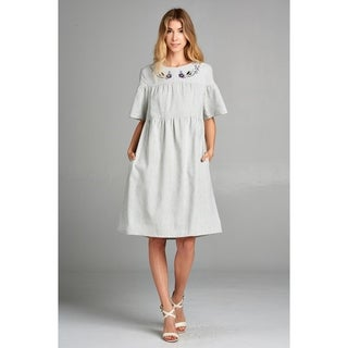 Spicy Mix Itzel Woven Linen Embroidery Collar Midi Dress w/Pockets