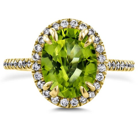 Annello by Kobelli 14k Gold 2 3/5ct TGW Oval Cut Green Peridot and Diamond Halo Gemstone Ring