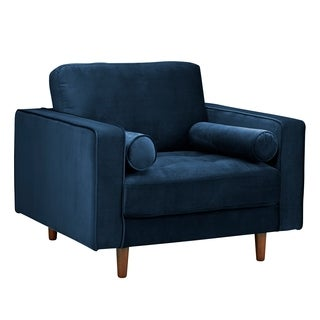 Poly and Bark Inga Chair with Velvet in Blue