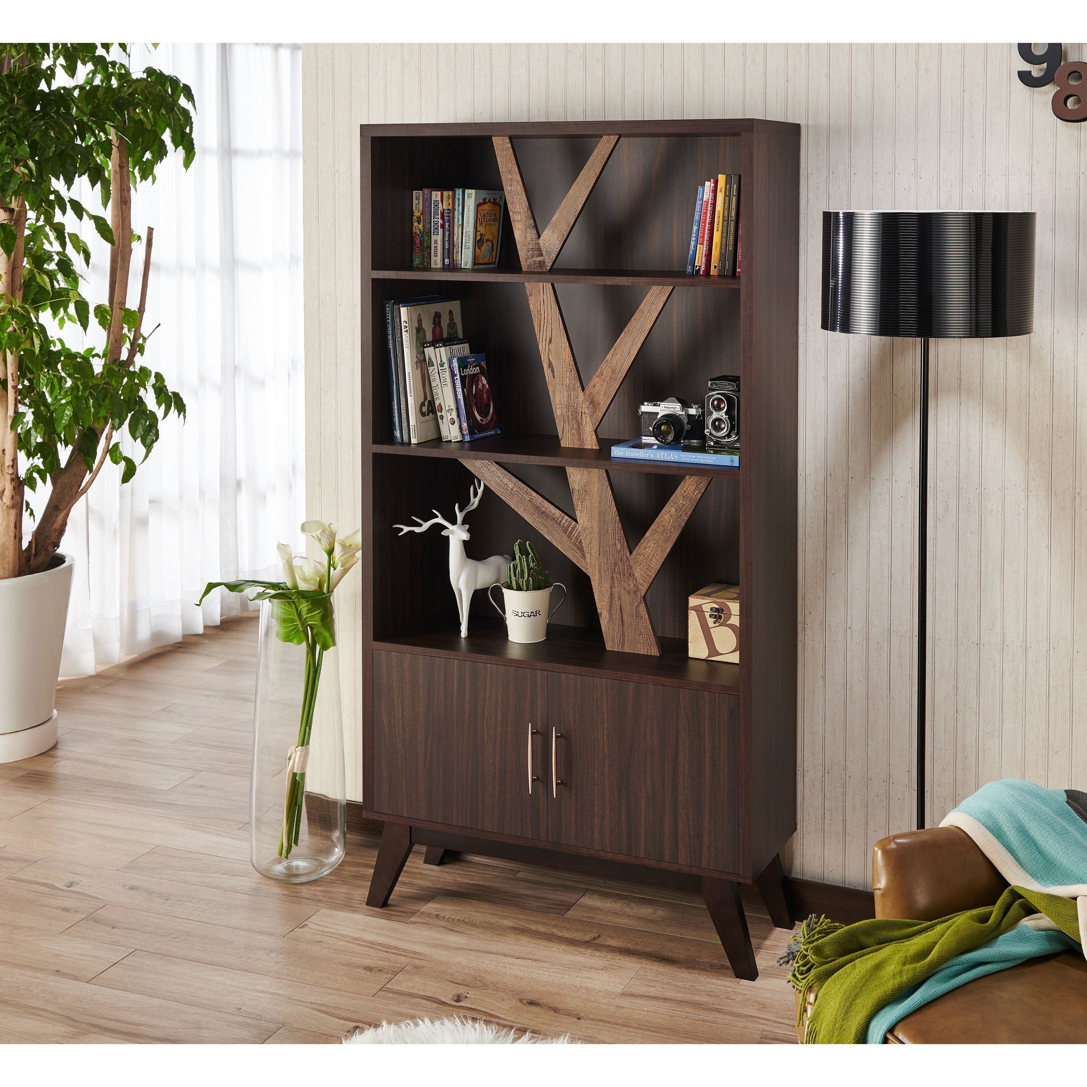 Details About Miyago Rustic Wenge Bookcase With Cabinet By Foa Wenge N A