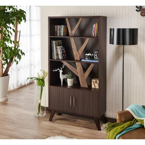 Miyago Rustic Wenge Bookcase with Cabinet by FOA
