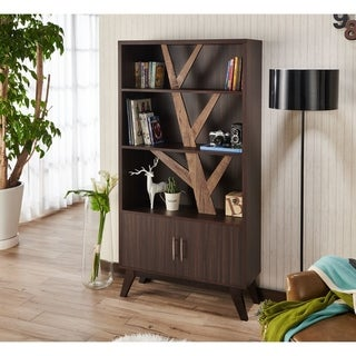 Furniture of America Miyago Rustic Midcentury Wenge Bookcase with Cabinet
