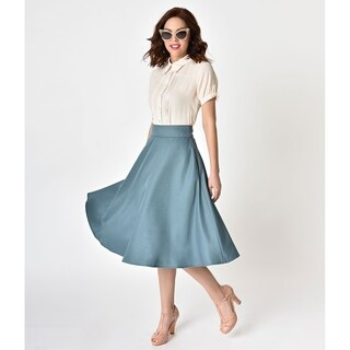 Unique Vintage Retro Style Sage High Waist Vivien Swing Skirt