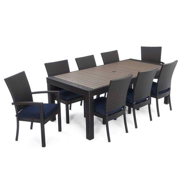 Deco™ 9pc Dining Set With Navy Blue Cushions By RST Brands®