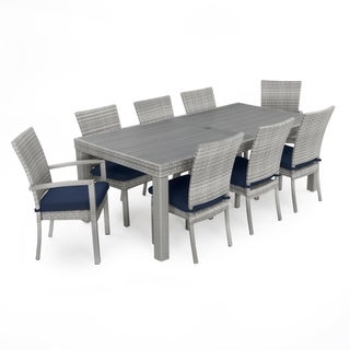 Cannes Woven Dining Set with Navy Blue Cushions by RST Brands®