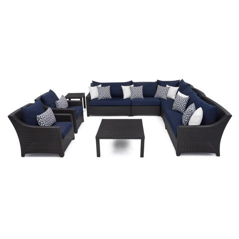 Deco 9pc Corner Sectional & Club Chair Set with Navy Blue Cushions by RST Brands