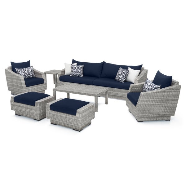Cannes 8pc Sofa and Club Chair Seating Group with Navy Blue Cushions by RST Brands. Opens flyout.