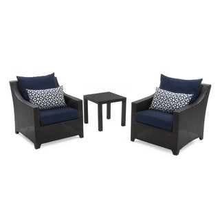Deco 2 Club Chairs & Side Table Set with Navy Blue Cushions by RST Brands