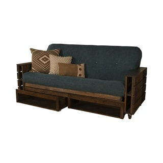 Attrayant Somette Tacoma Futon Set In Rustic Walnut Finish With Linen Mattress And  Storage Drawers (5