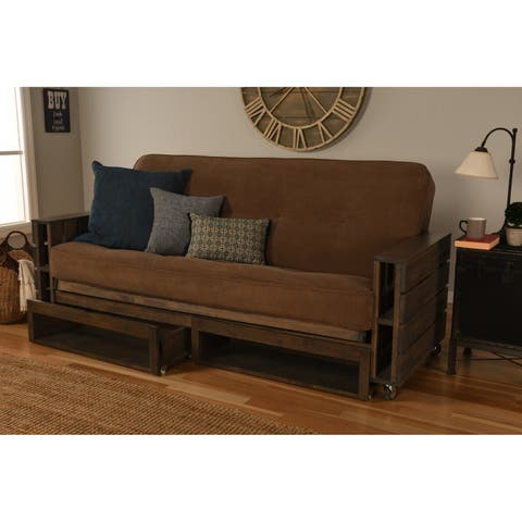 Carbon Loft Cyril Rustic Futon Set w/Mattress and Drawers