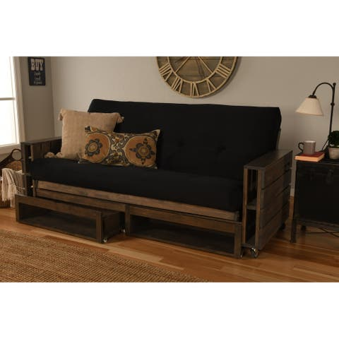 Somette Tacoma Futon Set in Rustic Walnut Finish with Suede Mattress and Storage Drawers