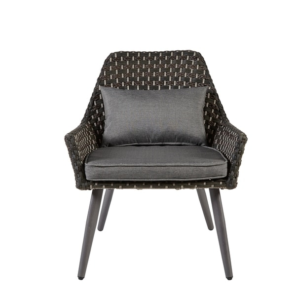Madison Park Coulter Dark Grey Outdoor Accent Chair With Seat Cushions