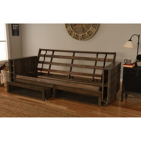 Carbon Loft David Rustic Walnut Futon Frame with Storage Drawers