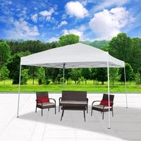 "118"" x 118"" UV Outdoor Gazebo Tent with Carry Bag, White"