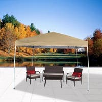 10' x 10' UV Outdoor Garden Canopy Tent Easy Set Up with Carry Bag, Tan