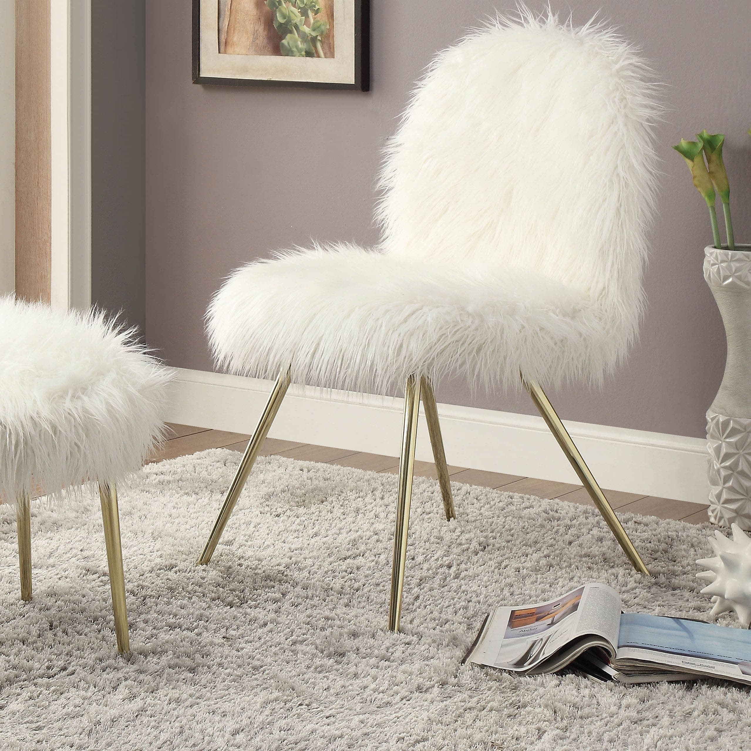 Image of: Shop Black Friday Deals On Furniture Of America Kene Modern White Faux Fur Padded Accent Chair On Sale Overstock 21125807