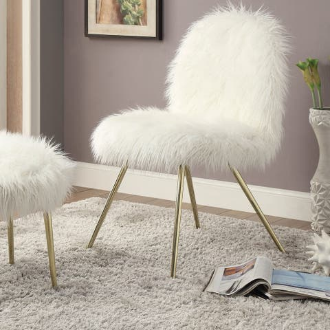 Furniture of America Kene Modern White Faux Fur Padded Accent Chair