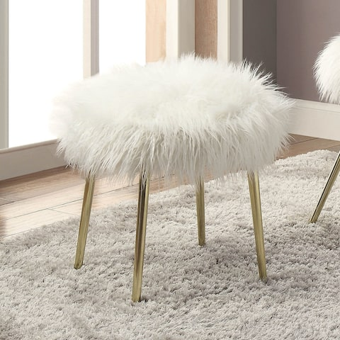Furniture of America Kene Contemporary White Faux Fur Accent Ottoman