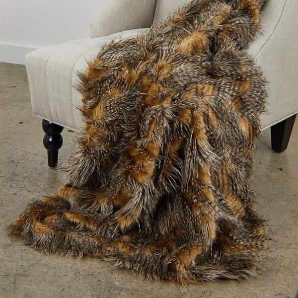 Plutus Porcupine Mocha Faux Fur Luxury Blanket