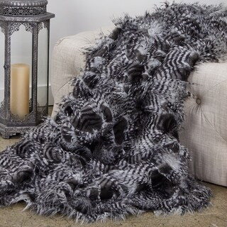 Plutus Porcupine Grey and Silver Faux Fur Luxury Blanket