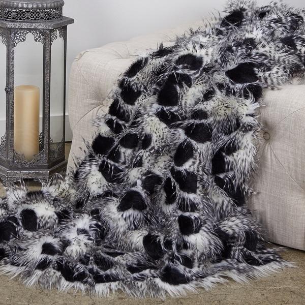Plutus Porcupine Black and White Faux Fur Luxury Blanket