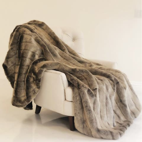 Plutus Frost Mink Dark Brown Faux Fur Luxury Blanket
